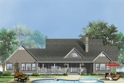 Ranch Style House Plan - 4 Beds 3 Baths 2487 Sq/Ft Plan #929-406 Exterior - Rear Elevation