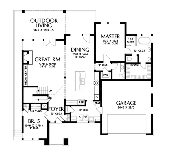 Home Plan - Contemporary Floor Plan - Main Floor Plan #48-1013