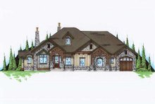 European Exterior - Front Elevation Plan #5-305