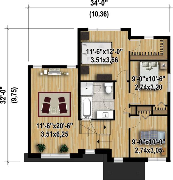 Contemporary Floor Plan - Upper Floor Plan Plan #25-4347