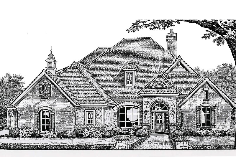 European Style House Plan - 4 Beds 3 Baths 2659 Sq/Ft Plan #310-267 Exterior - Front Elevation
