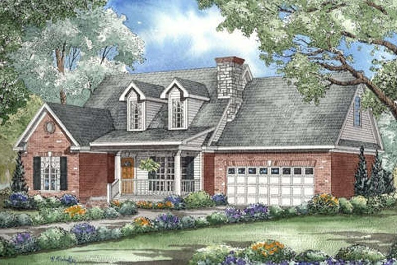 Traditional Style House Plan - 3 Beds 2.5 Baths 1777 Sq/Ft Plan #17-2002 Exterior - Front Elevation