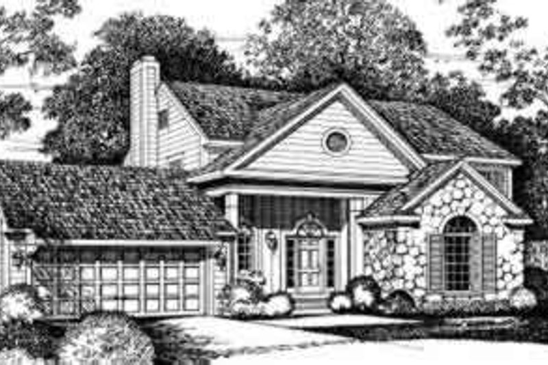 Traditional Exterior - Front Elevation Plan #72-466 - Houseplans.com
