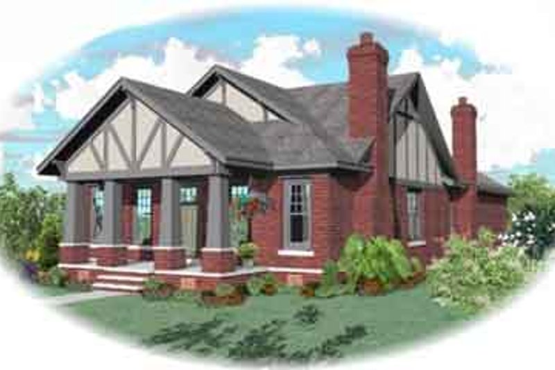 Bungalow Style House Plan - 4 Beds 3 Baths 3000 Sq/Ft Plan #81-1189 Exterior - Front Elevation