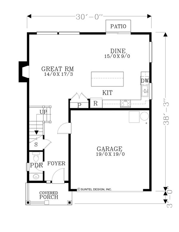 Craftsman Floor Plan - Main Floor Plan Plan #53-561