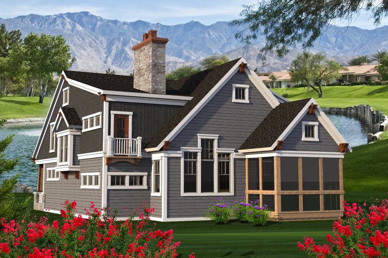 Craftsman Exterior - Rear Elevation Plan #70-1204 - Houseplans.com