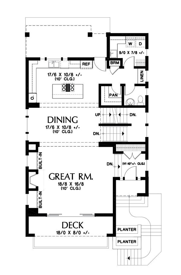 Contemporary Floor Plan - Main Floor Plan Plan #48-991
