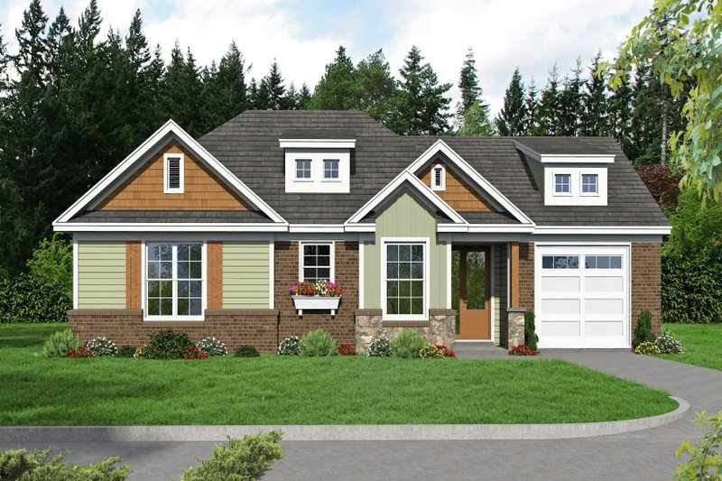 Craftsman Style House Plan - 2 Beds 2 Baths 1228 Sq/Ft Plan #932-26 Exterior - Front Elevation