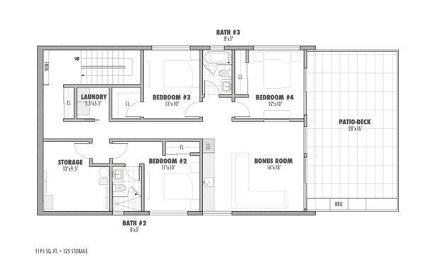 Modern Floor Plan - Lower Floor Plan #469-1