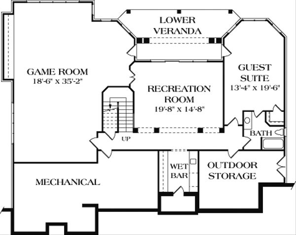 Colonial Floor Plan - Lower Floor Plan Plan #453-17