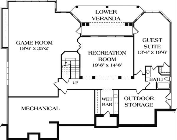 Colonial Floor Plan - Lower Floor Plan Plan #453-17