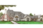 European Style House Plan - 4 Beds 3.5 Baths 4071 Sq/Ft Plan #310-666 Exterior - Front Elevation
