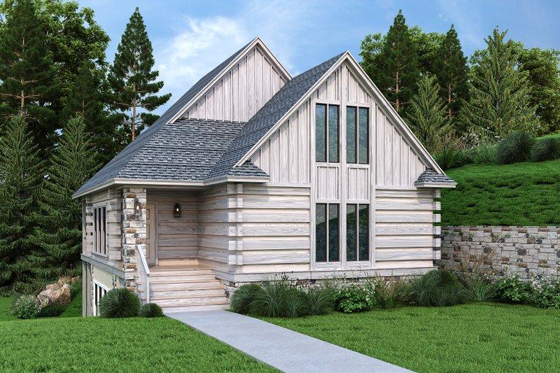 Architectural House Design - Log Exterior - Front Elevation Plan #45-602