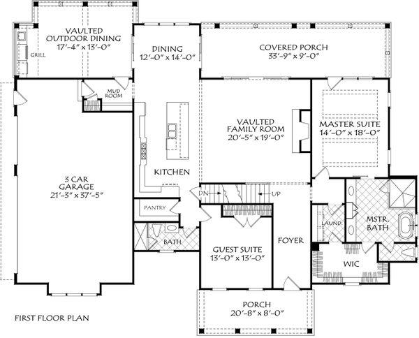 Architectural House Design - Farmhouse Floor Plan - Main Floor Plan #927-1013