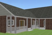 Ranch Style House Plan - 3 Beds 2 Baths 1716 Sq/Ft Plan #44-101 Exterior - Rear Elevation
