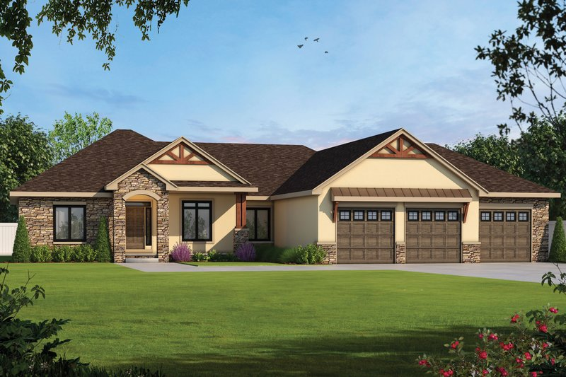 Craftsman Exterior - Front Elevation Plan #20-2401
