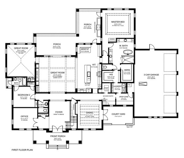 Southern Floor Plan - Main Floor Plan Plan #1058-178
