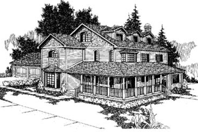 Country Style House Plan - 6 Beds 4 Baths 3484 Sq/Ft Plan #60-128 Exterior - Front Elevation