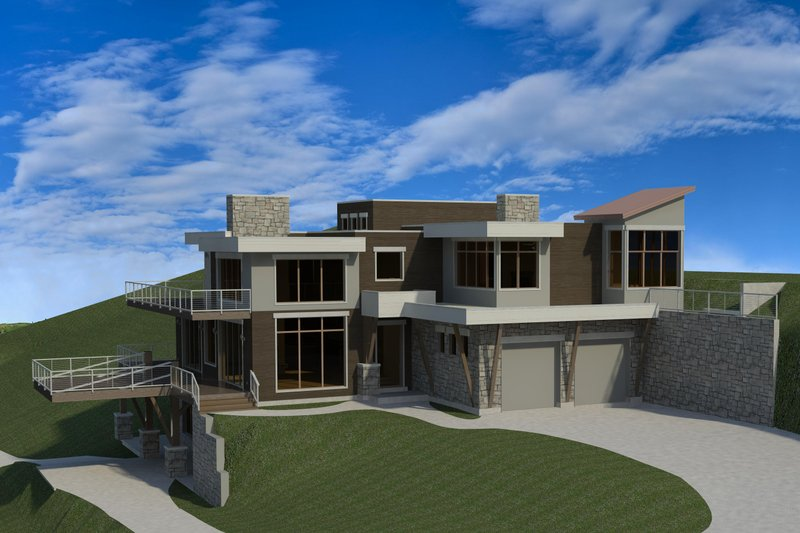 Modern Style House Plan - 4 Beds 4.5 Baths 4834 Sq/Ft Plan #920-91 Exterior - Front Elevation
