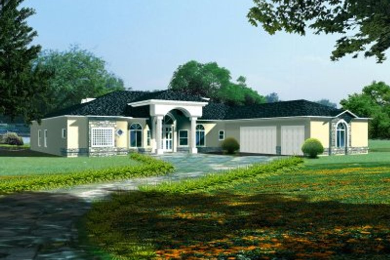 Adobe / Southwestern Style House Plan - 4 Beds 3.5 Baths 3533 Sq/Ft Plan #1-849 Exterior - Front Elevation
