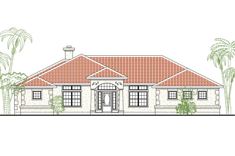 European Style House Plan - 4 Beds 3 Baths 2220 Sq/Ft Plan #80-149 Exterior - Front Elevation