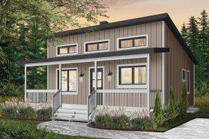Cabin Exterior - Front Elevation Plan #23-2301
