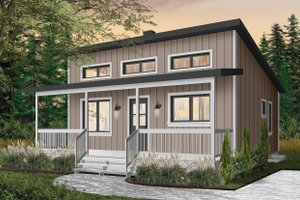 Cabin Exterior - Front Elevation Plan #23-2301
