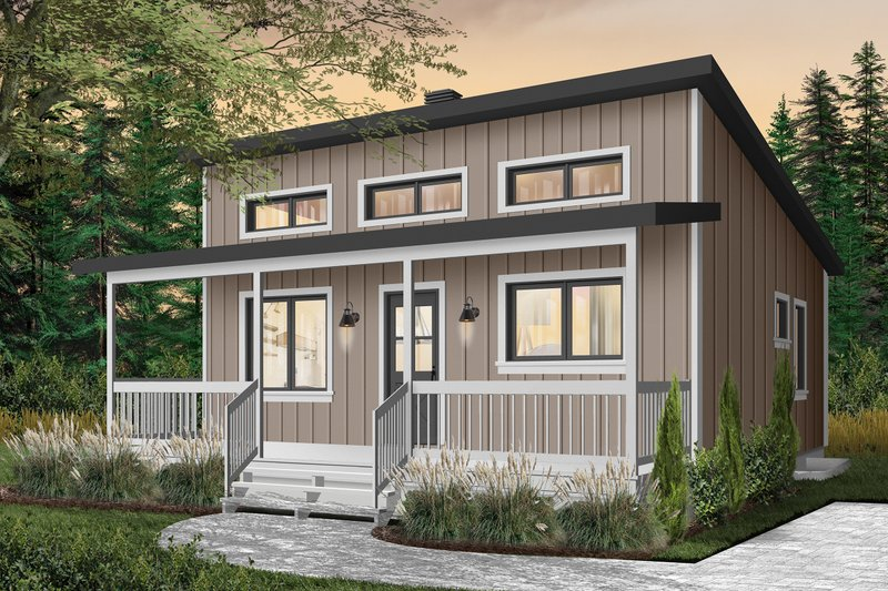 Cabin Style House Plan - 2 Beds 1 Baths 676 Sq/Ft Plan #23-2301