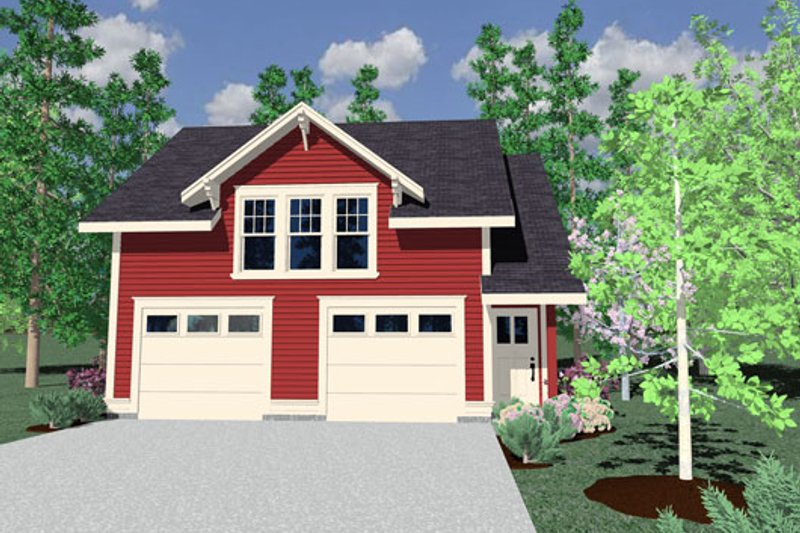 Country Style House Plan - 1 Beds 1 Baths 675 Sq/Ft Plan #509-39 Exterior - Front Elevation