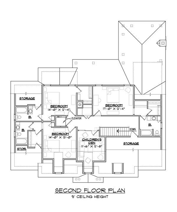 Classical Floor Plan - Upper Floor Plan Plan #1054-52