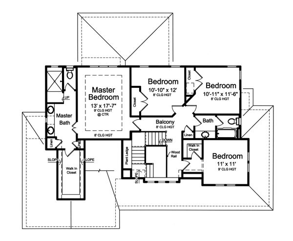 Farmhouse Floor Plan - Upper Floor Plan Plan #46-884