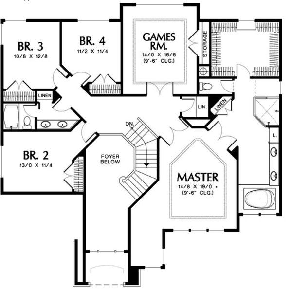 European Floor Plan - Upper Floor Plan Plan #48-456