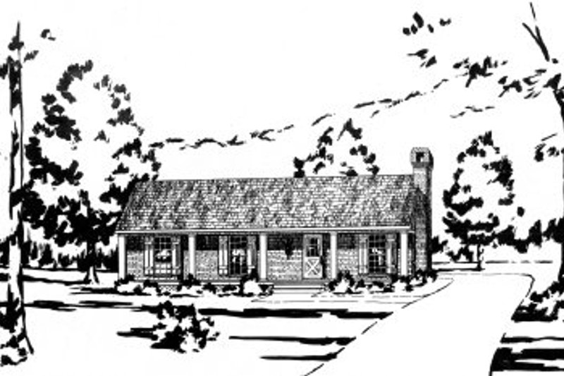 Country Style House Plan - 3 Beds 2 Baths 1148 Sq/Ft Plan #36-263 Exterior - Front Elevation