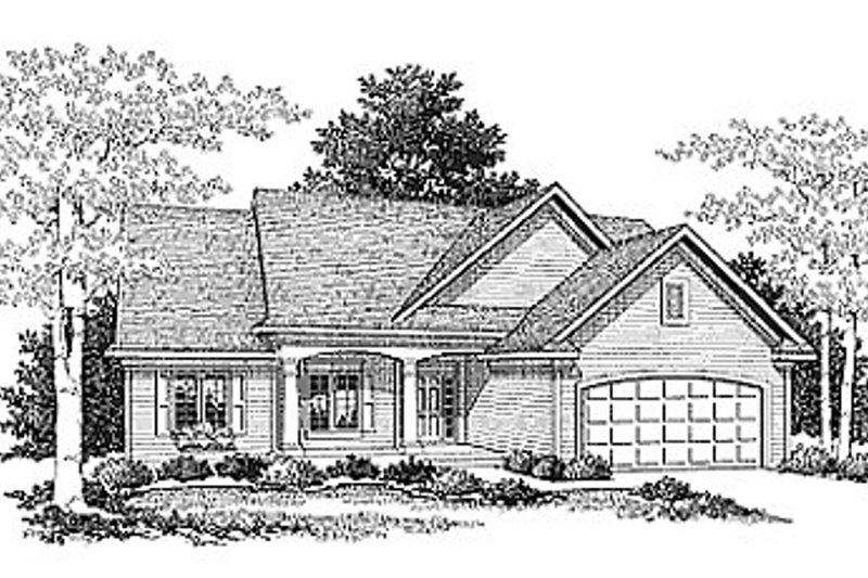 Traditional Style House Plan - 3 Beds 2 Baths 1537 Sq/Ft Plan #70-142 Exterior - Front Elevation