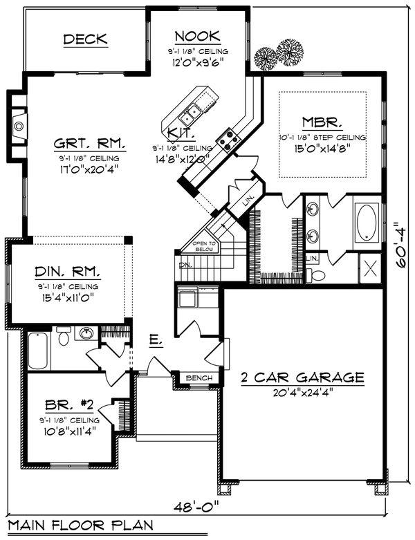 Ranch Floor Plan - Main Floor Plan Plan #70-1212