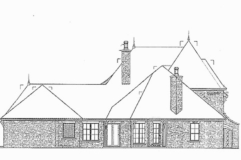 European Exterior - Rear Elevation Plan #310-698 - Houseplans.com