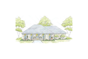 Southern Exterior - Front Elevation Plan #36-445