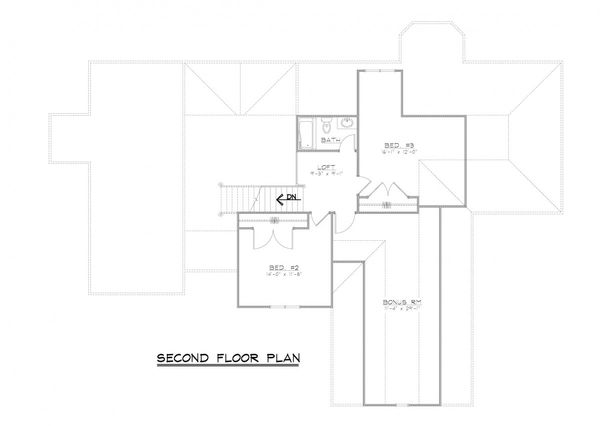 European Floor Plan - Upper Floor Plan Plan #1064-2