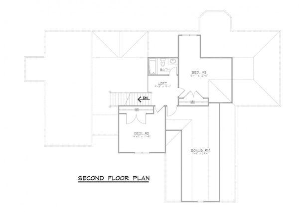 European Floor Plan - Upper Floor Plan Plan #1064-2