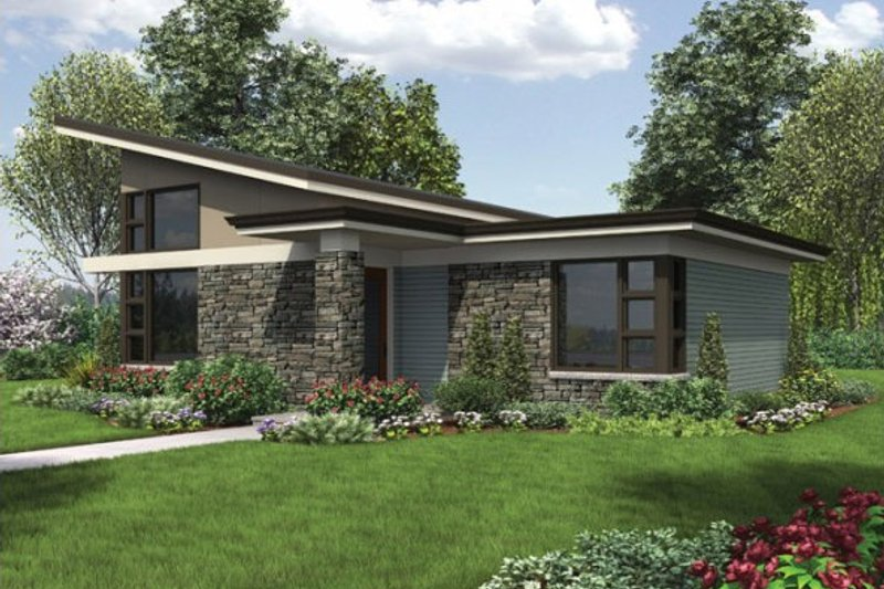 Modern Style House Plan - 1 Beds 1 Baths 899 Sq/Ft Plan #48-474 Exterior - Front Elevation