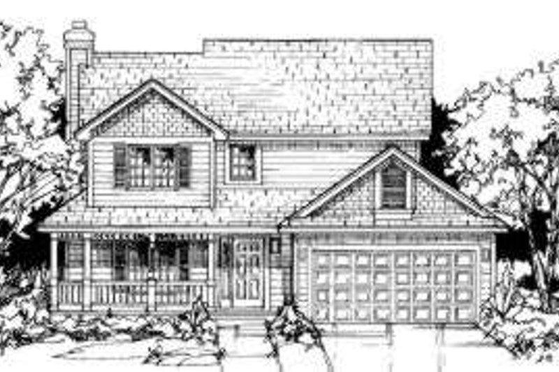 Country Style House Plan - 3 Beds 2.5 Baths 1488 Sq/Ft Plan #334-101 Exterior - Front Elevation