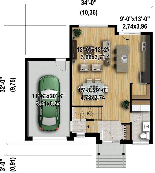 Contemporary Floor Plan - Main Floor Plan Plan #25-4347
