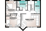Modern Style House Plan - 3 Beds 2 Baths 1086 Sq/Ft Plan #23-2023 Floor Plan - Lower Floor