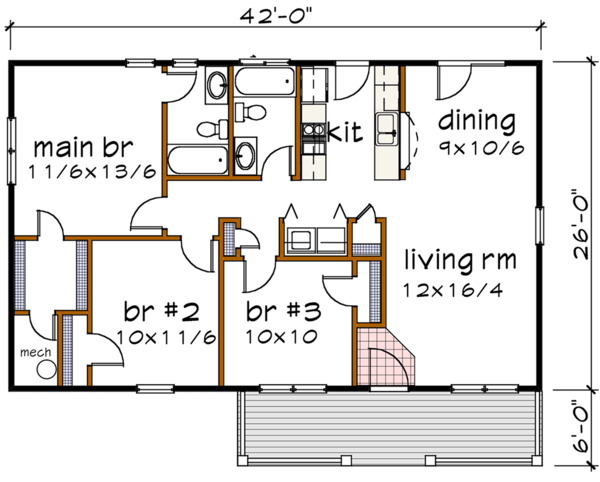 House Plan Design - Country Floor Plan - Main Floor Plan #79-118