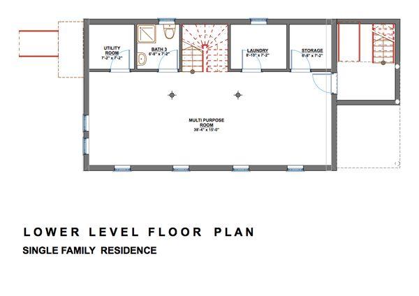Dream House Plan - Modern Floor Plan - Lower Floor Plan #535-2