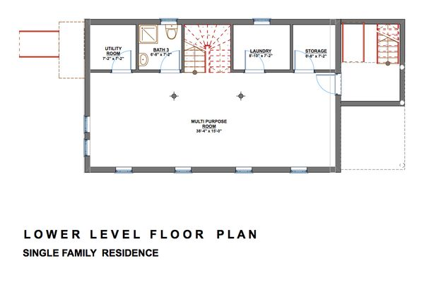 Modern Floor Plan - Lower Floor Plan #535-2