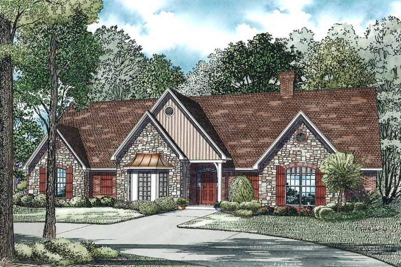 Ranch Style House Plan - 5 Beds 4.5 Baths 4303 Sq/Ft Plan #17-575 Exterior - Front Elevation