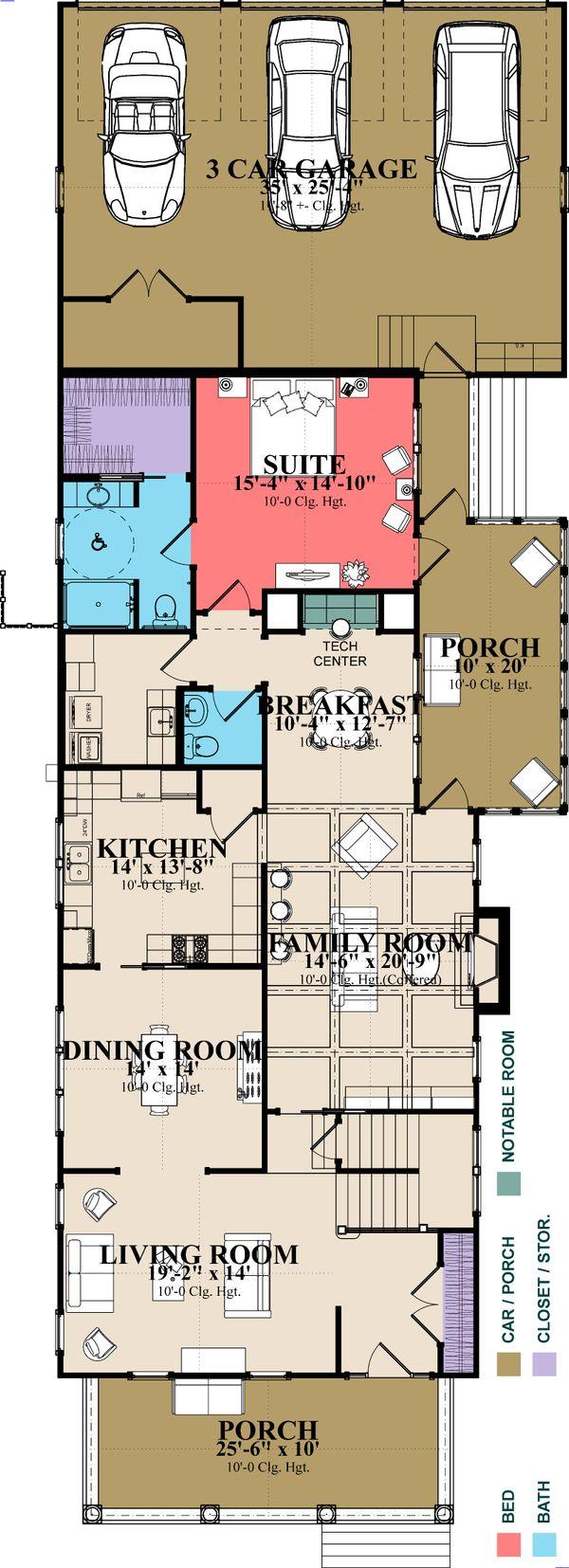 Southern Floor Plan - Main Floor Plan Plan #63-406