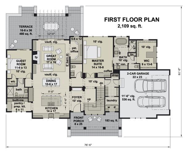 House Blueprint - Farmhouse Floor Plan - Main Floor Plan #51-1163