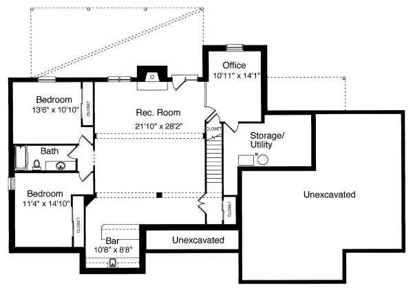 Home Plan - Cottage Floor Plan - Lower Floor Plan #46-402